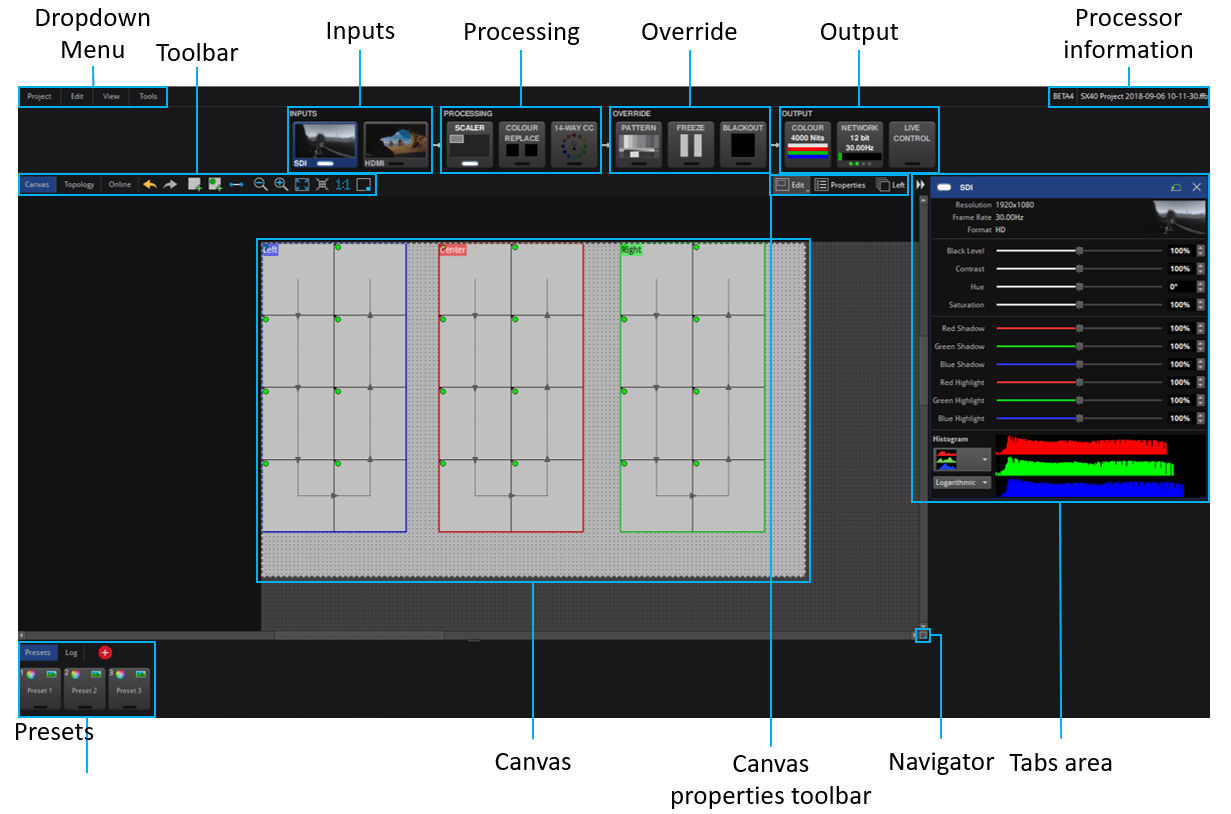 Main Project Screen Labelled