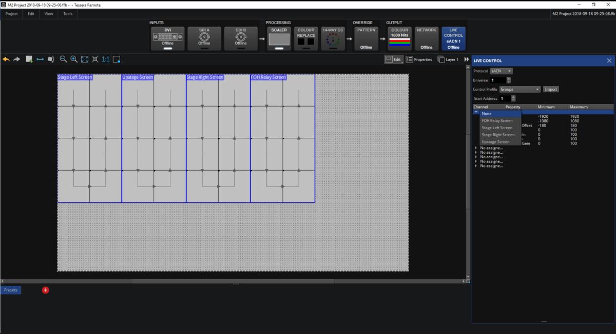 Main Project Screen Live Control